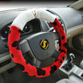 High Quality Milk Cow Print Winter Plush Car Steering Wheel Covers 15 inch 38CM - Red