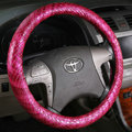 High Quality Snake Grain PU Leather Car Steering Wheel Covers 15 inch 38CM - Rose