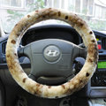 High Quality Snake Print Winter Plush Car Steering Wheel Covers 15 inch 38CM - Beige