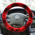 High Quality Snake Print Winter Plush Car Steering Wheel Covers 15 inch 38CM - Red