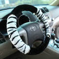 High-grade Zebra Winter Plush Car Steering Wheel Covers 15 inch 38CM - White Black