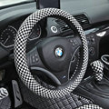 Hot sales Classic Plaids PU Leather Car Steering Wheel Covers 15 inch 38CM - Black White