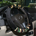 Hot sales Man Winter Plush Camo Car Steering Wheel Covers 15 inch 38CM - Green