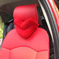 Hot sales Sexy Lips Women Plush Auto Neck Safety Pillow Car Interior Decoration 2pcs - Red
