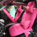 Luxury Cute PU Leather Universal Car Seat Covers Fashion Female Auto Cushion 14pcs Sets - Rose