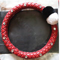 Luxury Diamond Fox Fur Ball Car Steering Wheel Covers Genuine Leather 15 inch 38CM - Red