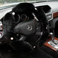Luxury Diamond Genuine Wool With Rabbit Fur Auto Steering Wheel Covers 15 inch 38CM - Black