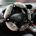 Luxury Diamond Genuine Wool With Rabbit Fur Auto Steering Wheel Covers 15 inch 38CM - Gray