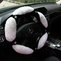 Luxury Diamond Genuine Wool With Rabbit Fur Auto Steering Wheel Covers 15 inch 38CM - White
