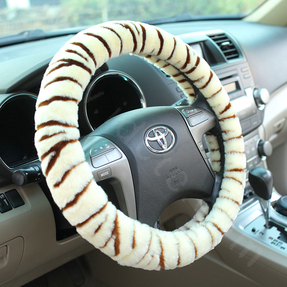 buy wholesale luxury fashion zebra winter plush car steering wheel covers 15 inch 38cm grey. Black Bedroom Furniture Sets. Home Design Ideas