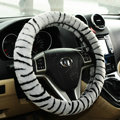 Luxury Fashion Zebra Winter Plush Car Steering Wheel Covers 15 inch 38CM - Grey