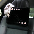 Luxury Fox fur Crystal Genuine Wool Auto Neck Safety Pillow Interior Accessories 1pcs - Black