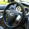 Luxury General Car Steering Wheel Covers Genuine Leather Snake Skin 15 inch 38CM - Black