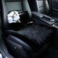Luxury Genuine Wool Universal Car Seat Cushion Women Winter Auto Pad 1pcs - Black