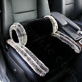 Luxury Genuine Wool With Rabbit Fur Universal Car Seat Cushion Winter Auto Pad 1pcs - Black