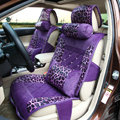 Luxury Leopard Print Female Diamond Universal Car Seat Cushion PU Velvet 10pcs Set - Purple