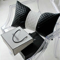 Luxury Rhombus Sheepskin Leather Car Lumbar Pillow Auto Back Support Cushion 1pcs - Black White