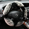 Luxury Winter Genuine Wool With Rabbit Fur Auto Steering Wheel Covers 15 inch 38CM - Gray
