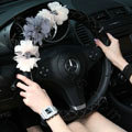 New Crystal Beads Lace Rose Auto Steering Wheel Covers Genuine Sheepskin 15 inch 38CM - Black