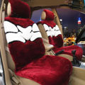 New Flower Design Short Plush Auto Cushion Universal Car Seat Covers For Women 5pcs Sets - Red