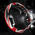 New High Quality British Flag PU Leather Car Steering Wheel Covers 15 inch 38CM - Red Black