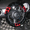 New Personalized Classic Plaid Plush Auto Steering Wheel Covers 14 inch 36CM - Black Red