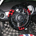 New Personalized Classic Plaid Plush Auto Steering Wheel Covers 15 inch 38CM - Black Red