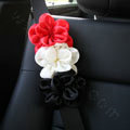 New Sexy Crystal Beads Rose Auto Seat Safety Belt Covers Genuine Sheepskin 2pcs - Red