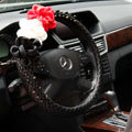 New Sexy Crystal Beads Rose Auto Steering Wheel Covers Genuine Sheepskin 14 inch 36CM - Black