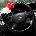 New Sexy Crystal Beads Rose Auto Steering Wheel Covers Genuine Sheepskin 15 inch 38CM - Black