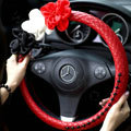New Sexy Crystal Beads Rose Auto Steering Wheel Covers Genuine Sheepskin 15 inch 38CM - Red