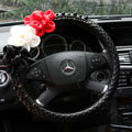 New Sexy Crystal Beads Rose Auto Steering Wheel Covers Genuine Sheepskin 16 inch 40CM - Black