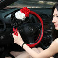New Sexy Crystal Beads Rose Auto Steering Wheel Covers Genuine Sheepskin 16 inch 40CM - Red