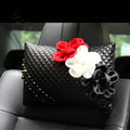 New Sexy Crystal Beads Rose Car Headrest Neck Safety Pillow Genuine Sheepskin 1pcs - Black