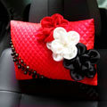 New Sexy Crystal Beads Rose Car Headrest Neck Safety Pillow Genuine Sheepskin 1pcs - Red