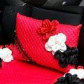 New Sexy Crystal Beads Rose Car Lumbar Pillow Genuine Sheepskin Support Cushion 1pcs - Red