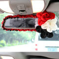 New Sexy Crystal Beads Rose Genuine Sheepskin Car Rearview Mirror Elastic Covers - Red