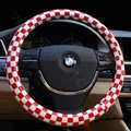 New Women Classic Plaids PU Leather Vehicle Steering Wheel Covers 15 inch 38CM - Red