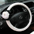 Newest Luxury Pearl Flower Car Steering Wheel Covers Genuine Sheepskin 15 inch 38CM - White