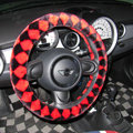 Personalized Classic Plaid Plush Auto Steering Wheel Covers 14 inch 36CM - Black Red