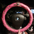 Personalized Rhinestone Eyes Leather Grip Car Steering Wheel Covers 15 inch 38CM - Pink