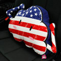 Popular American Flag Short Plush Auto Support Lumbar Pillow Car Interior Decorate 1pcs - Blue