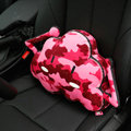 Popular Camo Cloud Short Plush Car Support Lumbar Pillow Interior Decorate 1pcs - Red