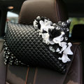 Popular Lace Flower Crystal Car Headrest Genuine Sheepskin Neck Safety Pillow 1pcs - Black
