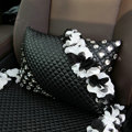 Popular Lace Flower Crystal Car Lumbar Pillow Genuine Sheepskin Support Cushion 1pcs - Black