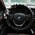 Popular Lace Flower Crystal Car Steering Wheel Covers Genuine Sheepskin 14 inch 36CM - Black
