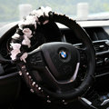 Popular Lace Flower Crystal Car Steering Wheel Covers Genuine Sheepskin 15 inch 38CM - Black