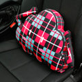Popular Lattice Cloud Short Plush Car Support Lumbar Pillow Interior Decorate 1pcs - Red