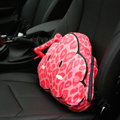 Popular Leopard Print Short Plush Car Support Lumbar Pillow Interior Decorate 1pcs - Pink