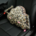 Popular Leopard Print Short Plush Car Support Lumbar Pillow Interior Decorate 1pcs - Yellow